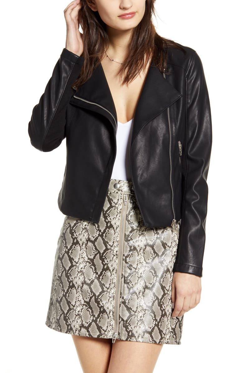 BLANKNYC Record Breaker Collarless Faux Leather Moto Jacket, Main, color, MOONLIGHTING/ BLACK