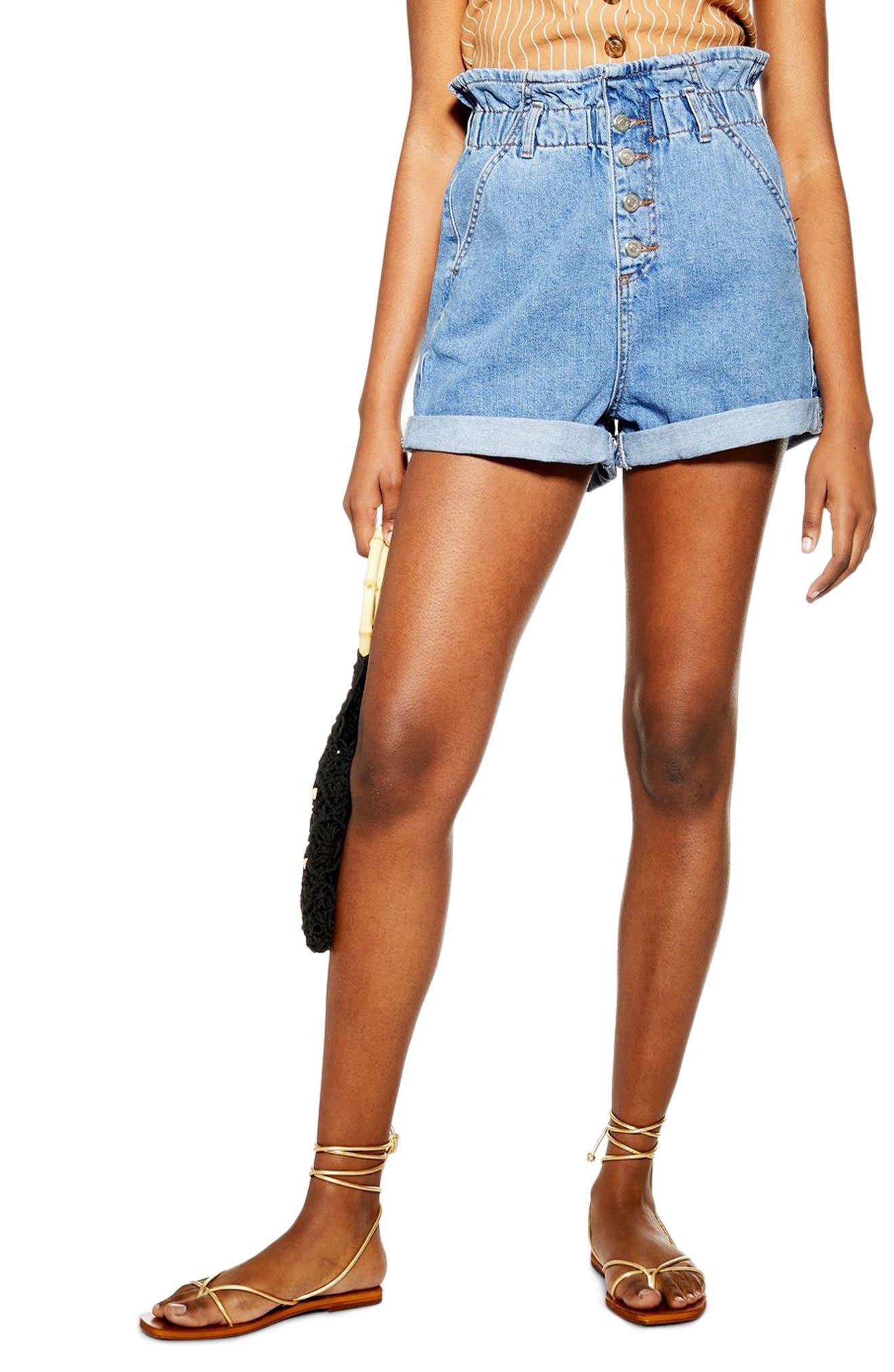 Topshop Paperbag High Waist Denim Shorts (Regular & Petite)