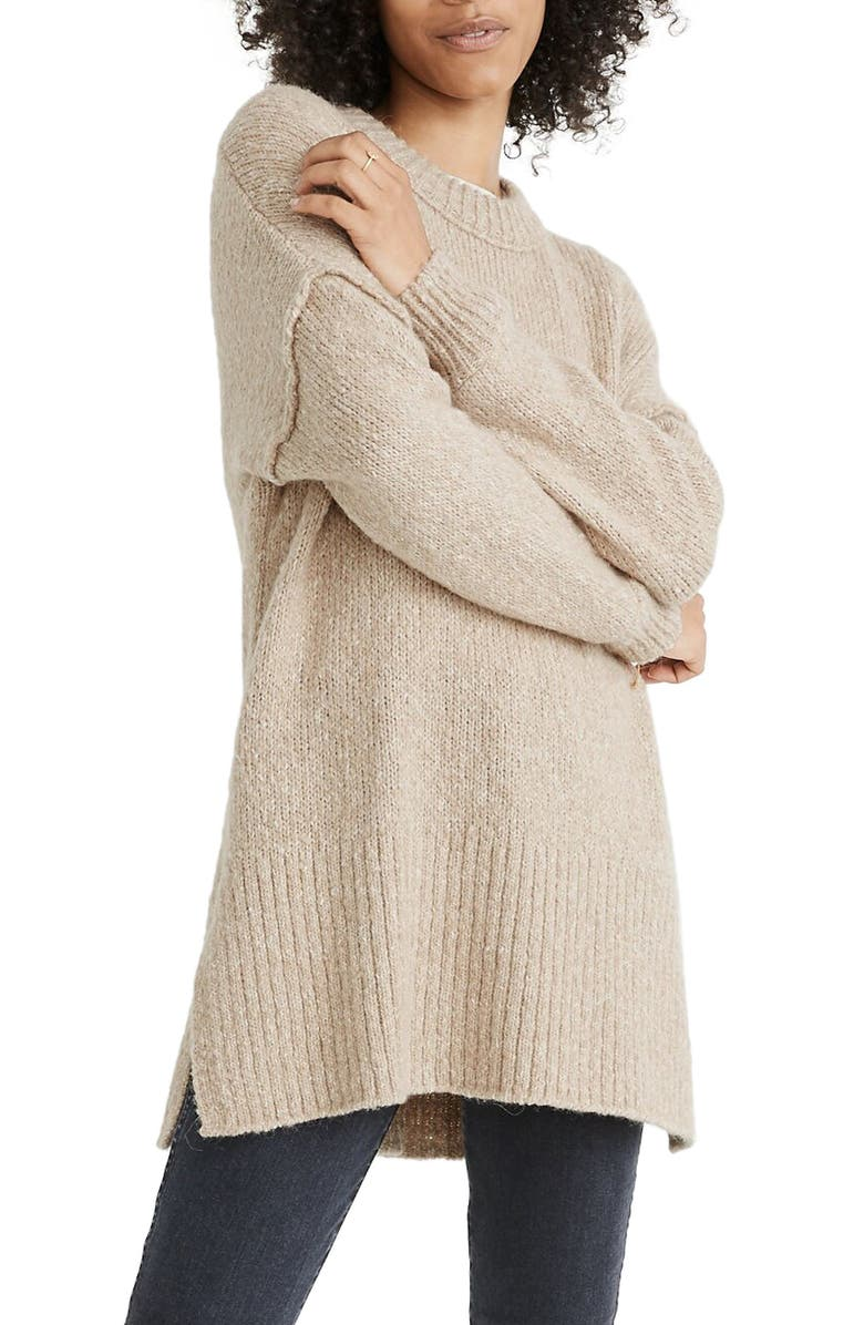 MADEWELL Baxer Sweater Tunic, Main, color, MARLED DUNE
