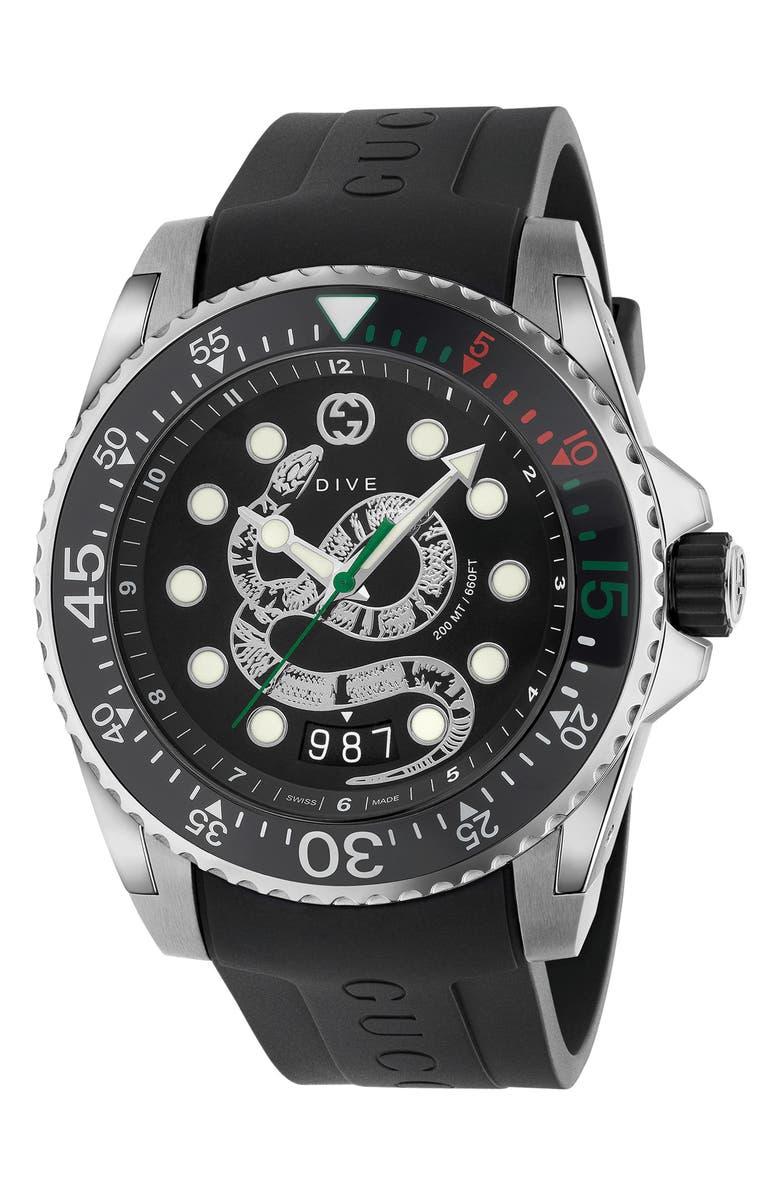 GUCCI Dive Snake Rubber Strap Watch, 45mm, Main, color, BLACK/ SILVER