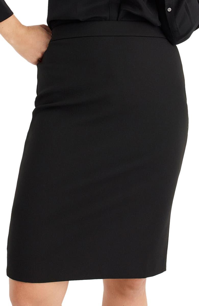 J.CREW Four Season Stretch No. 2 Pencil Skirt, Main, color, BLACK