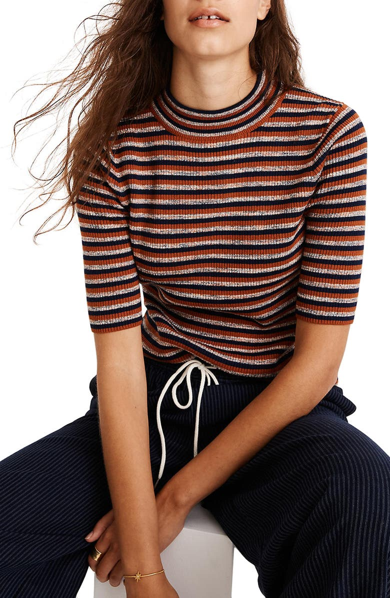 MADEWELL Dalston Stripe Mock Neck Sweater, Main, color, 600