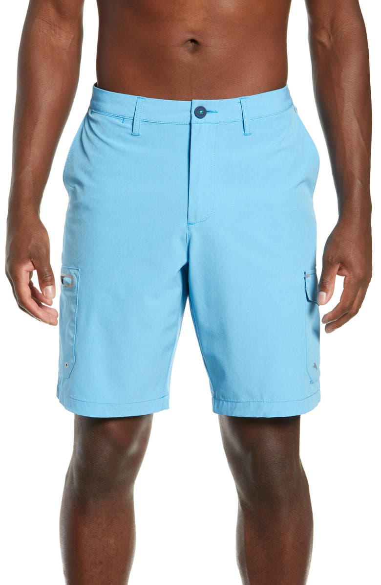 TOMMY BAHAMA Cayman Isles Cargo Hybrid Board Shorts, Main, color, SCANDIA BLUE