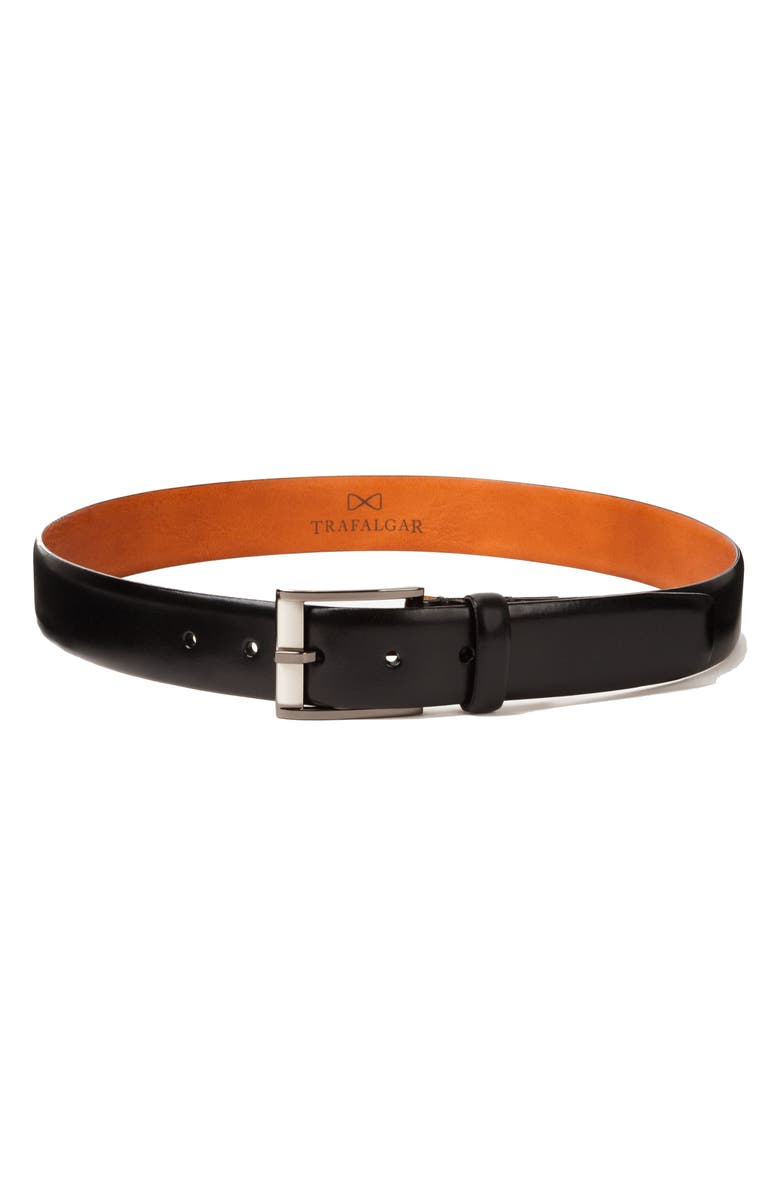 TRAFALGAR Matteo Leather Belt, Main, color, BLACK