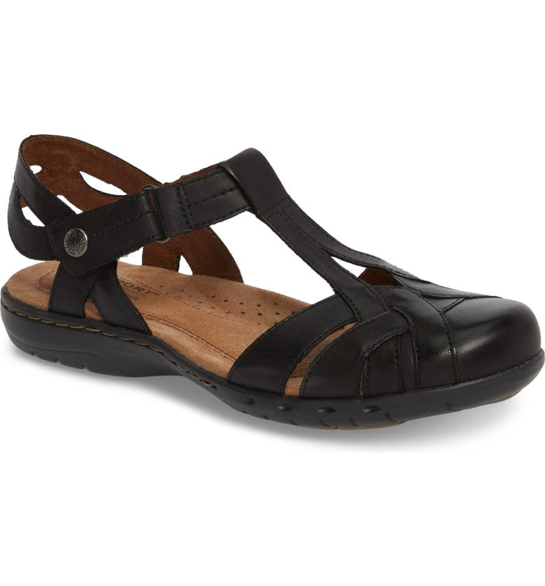 ROCKPORT COBB HILL Penefield T-Strap Sandal, Main, color, BLACK LEATHER