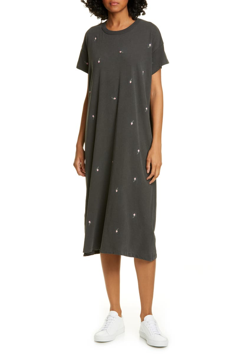 THE GREAT. The Boxy Embroidered T-Shirt Dress, Main, color, WASHED BLACK