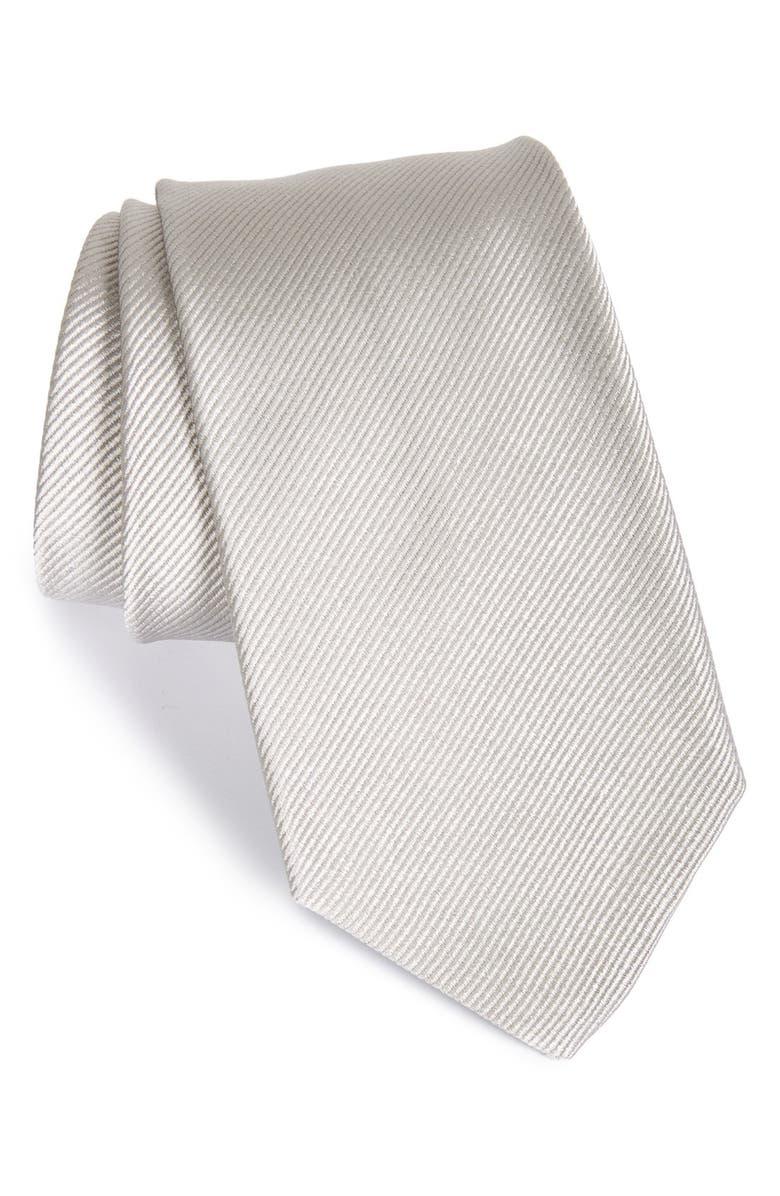 GITMAN Solid Silk Tie, Main, color, SILVER