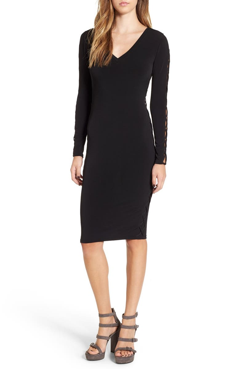 LEITH Lace-Up Long Sleeve Body-Con Dress, Main, color, 001