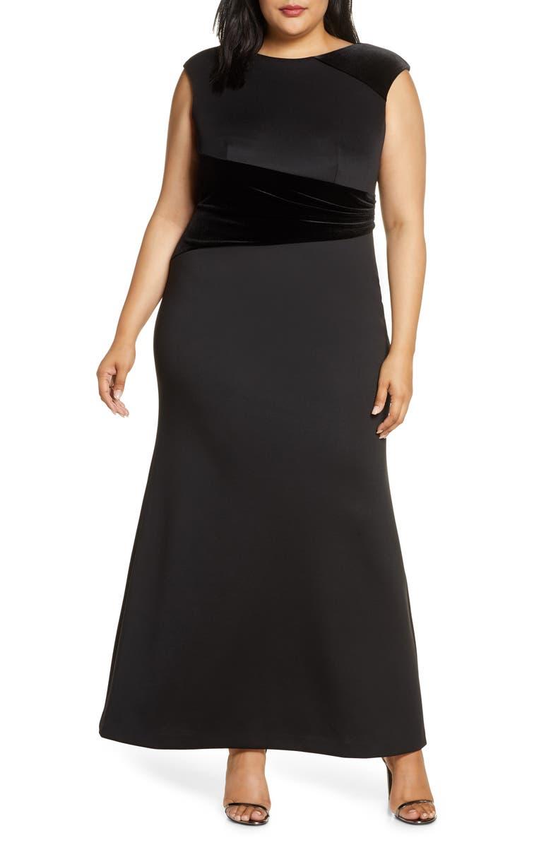 VINCE CAMUTO Velvet Detail Scuba Trumpet Gown, Main, color, BLACK