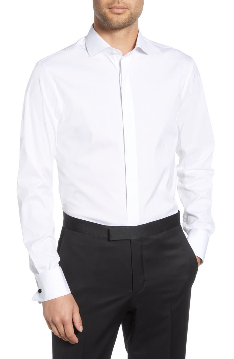 BONOBOS Slim Fit Stretch Tuxedo Shirt, Main, color, WHITE