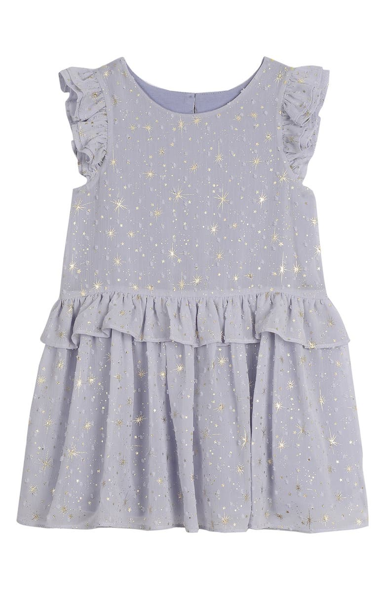 PIPPA & JULIE Metallic Star Ruffle Shift Dress, Main, color, PERIWINKLE