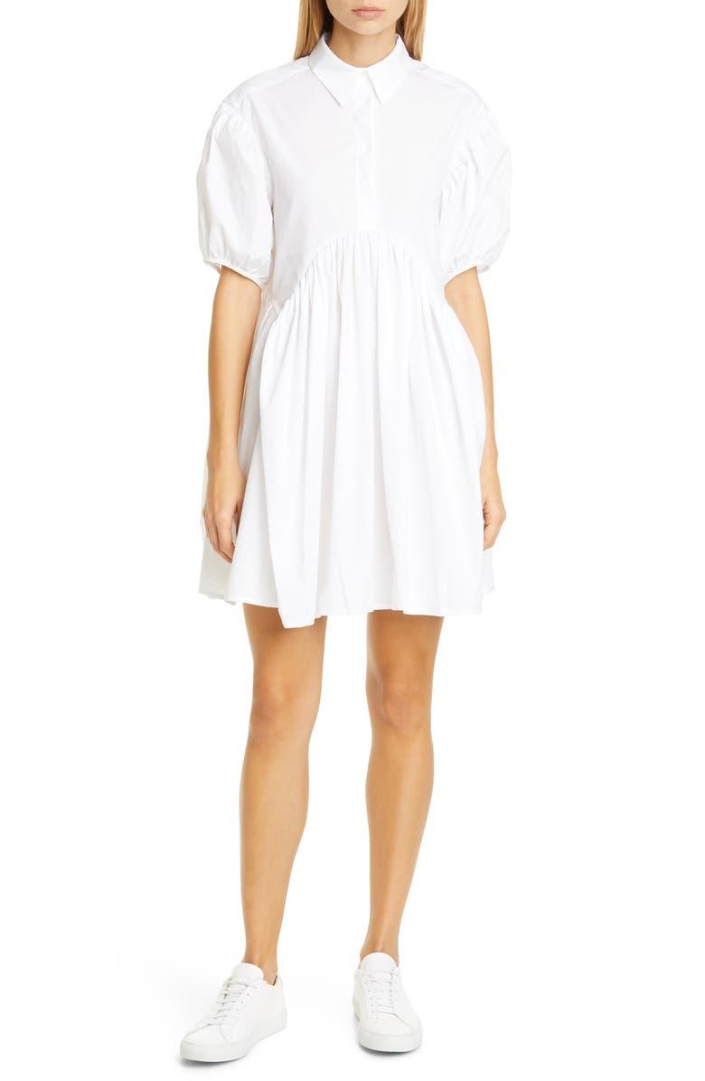 CECILIE BAHNSEN Esther Puff Sleeve Cotton Poplin Dress, Main, color, WHITE