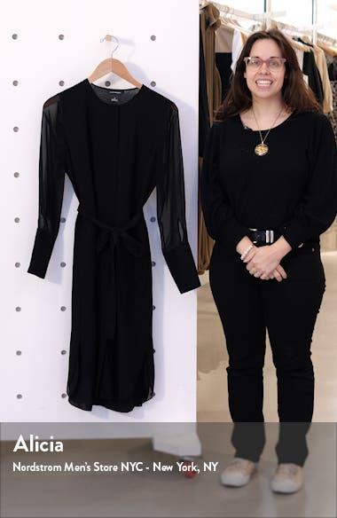 Long Sleeve Silk Chiffon Midi Shirtdress, sales video thumbnail