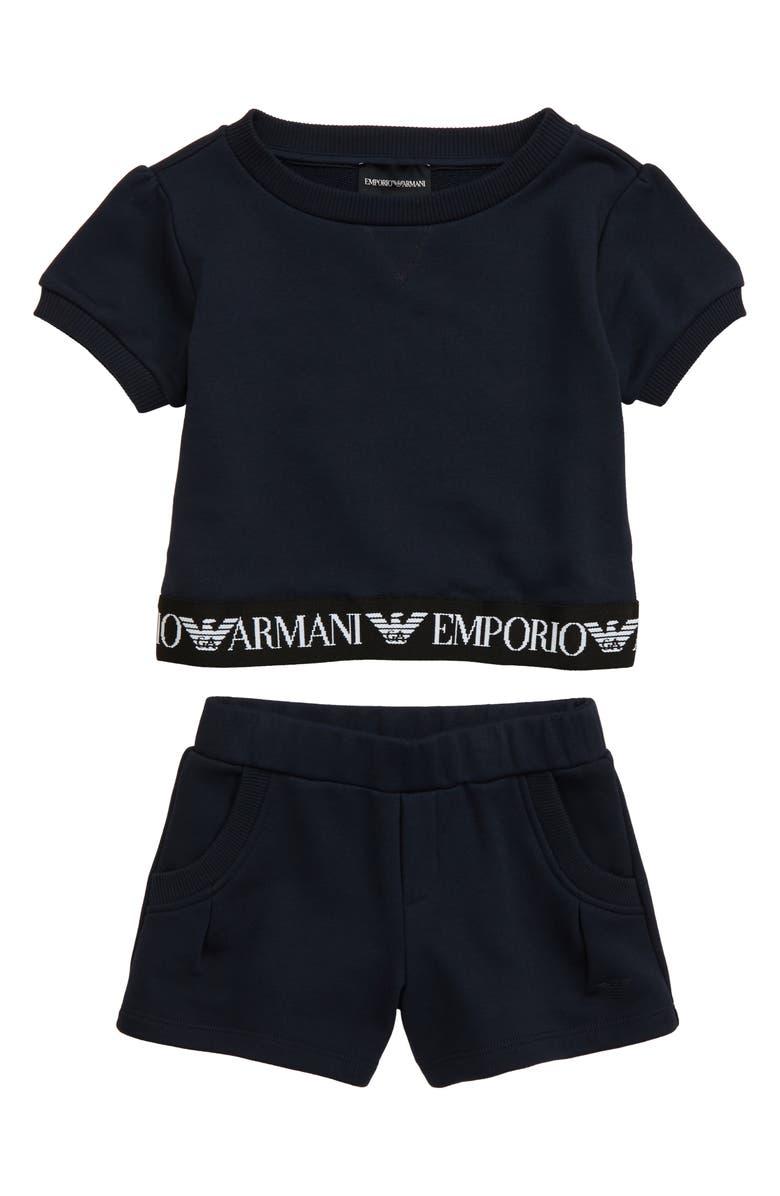 ARMANI JUNIOR Logo Short Sleeve Sweatshirt & Shorts Set, Main, color, BLU OLTREMARE