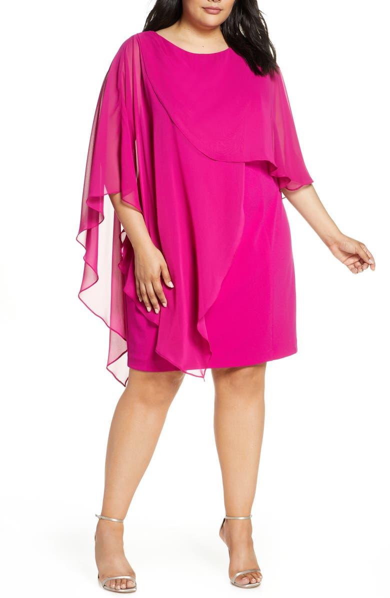 ELIZA J Chiffon Cape Cocktail Dress, Main, color, MAGENTA