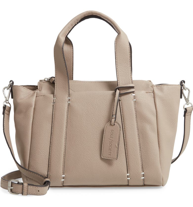 SOLE SOCIETY Kwaye Faux Leather Satchel, Main, color, MUSHROOM