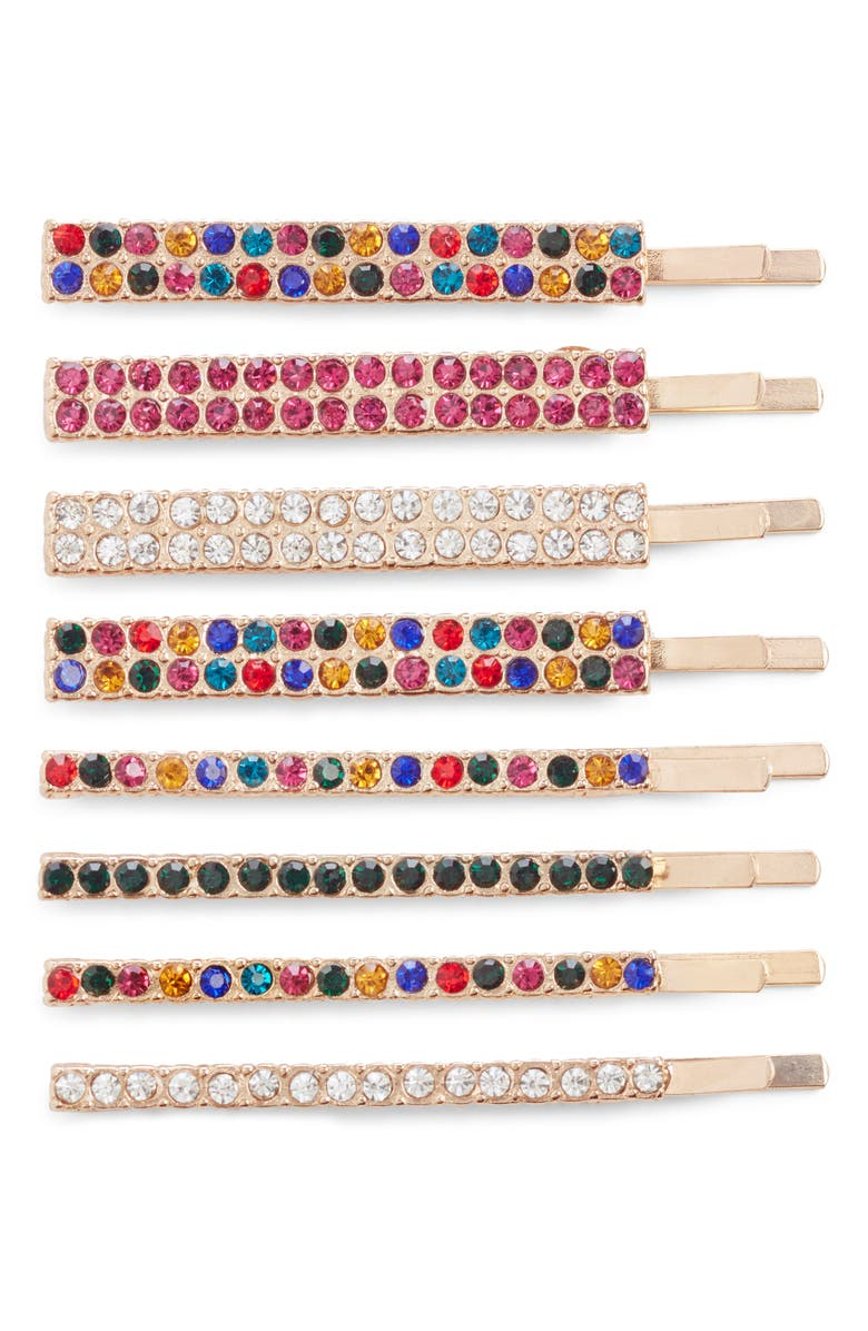 BP. x Claudia Sulewski Set of 8 Crystal Hair Clips, Main, color, GOLD MULTI