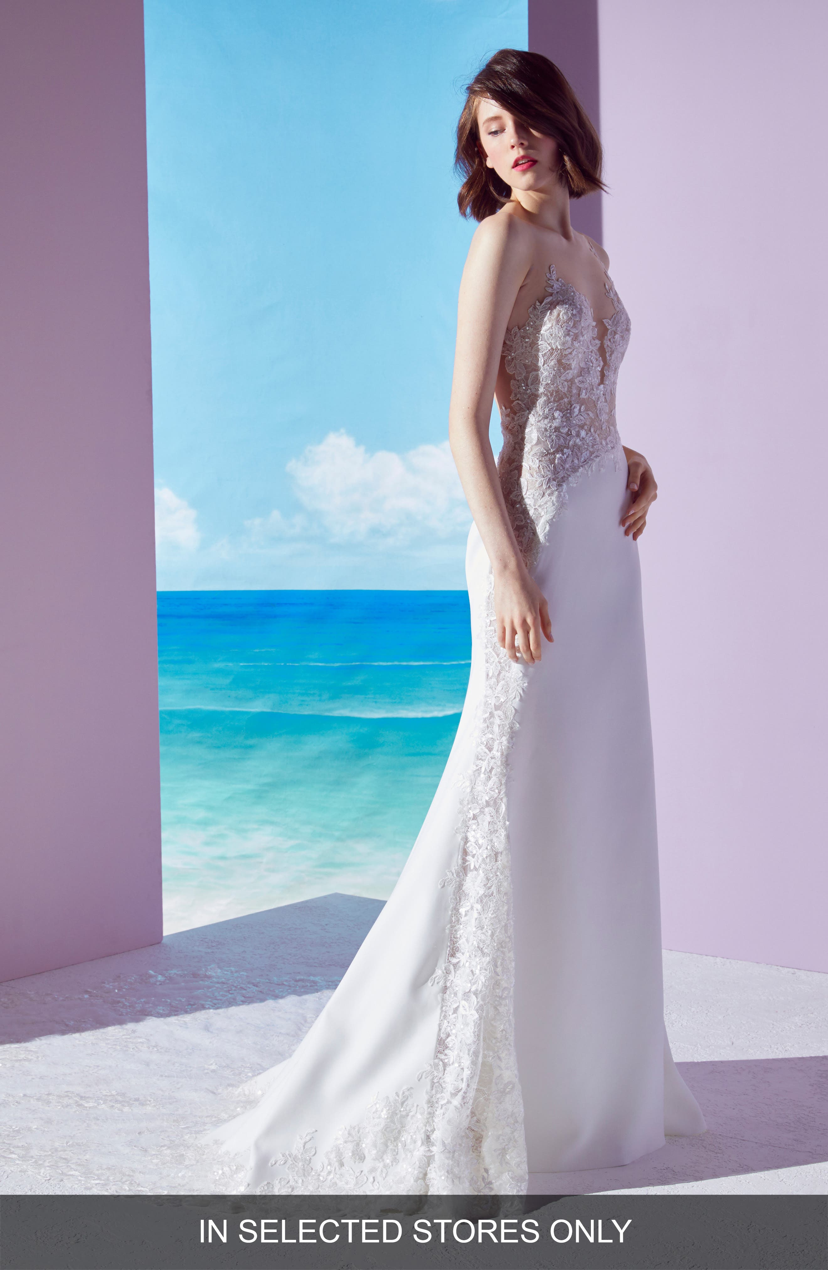 Ines By Ines Di Santo Mischa Lace Panel Gown, Size IN STORE ONLY - Ivory