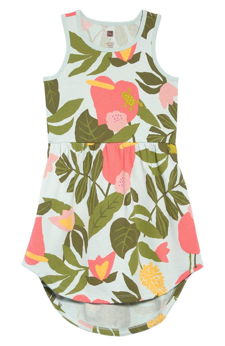 TEA COLLECTION Print Tank Dress, Main, color, TROPICAL GARDEN
