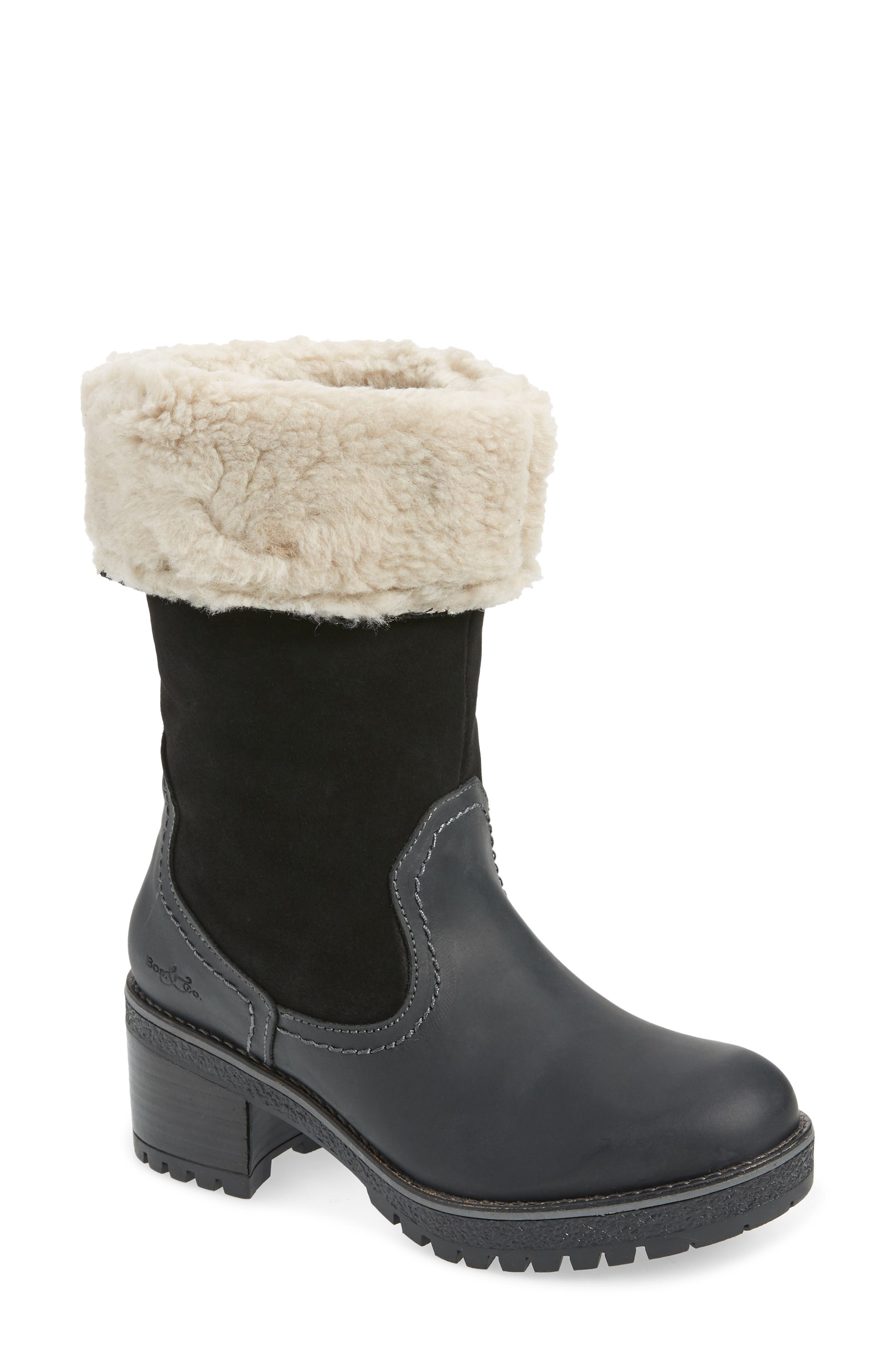 Plush merino wool forms the lining and fold-over cuff of a lug-sole boot that\\\'s a waterproof, weather-ready must-have. Style Name: Bos. & Co. Motive Waterproof Boot (Women). Style Number: 6086145. Available in stores.