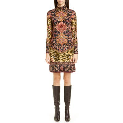 Etro Animal Print Long Sleeve Jersey Turtleneck Dress, US / 40 IT - Black