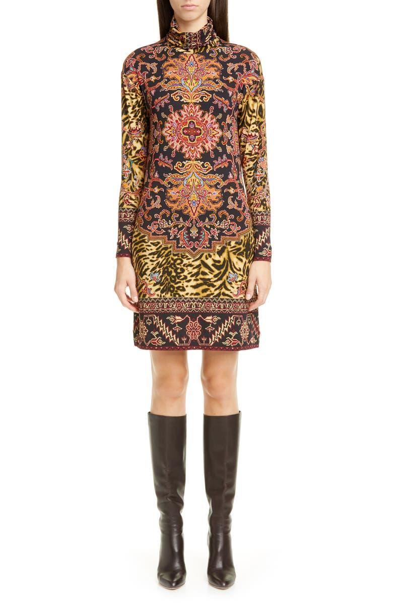 ETRO Animal Print Long Sleeve Jersey Turtleneck Dress, Main, color, MULTI