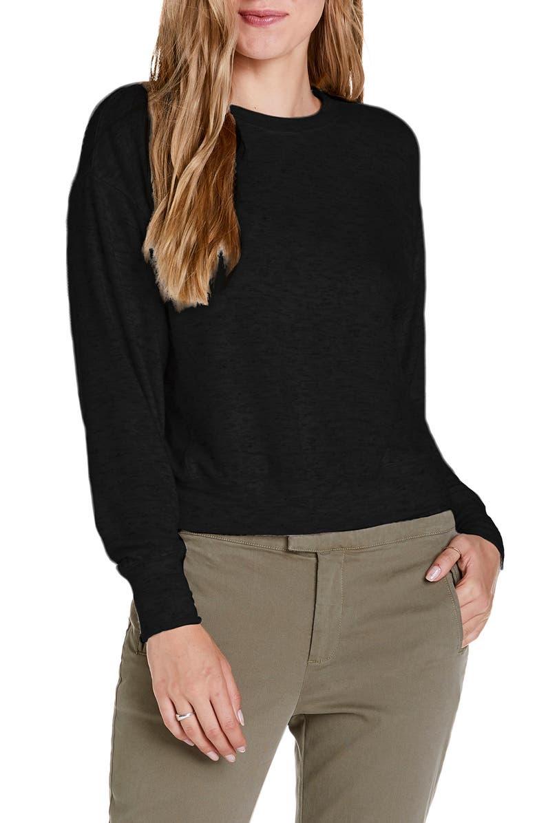 MICHAEL STARS Michael Starts Crewneck Pullover Top, Main, color, BLACK