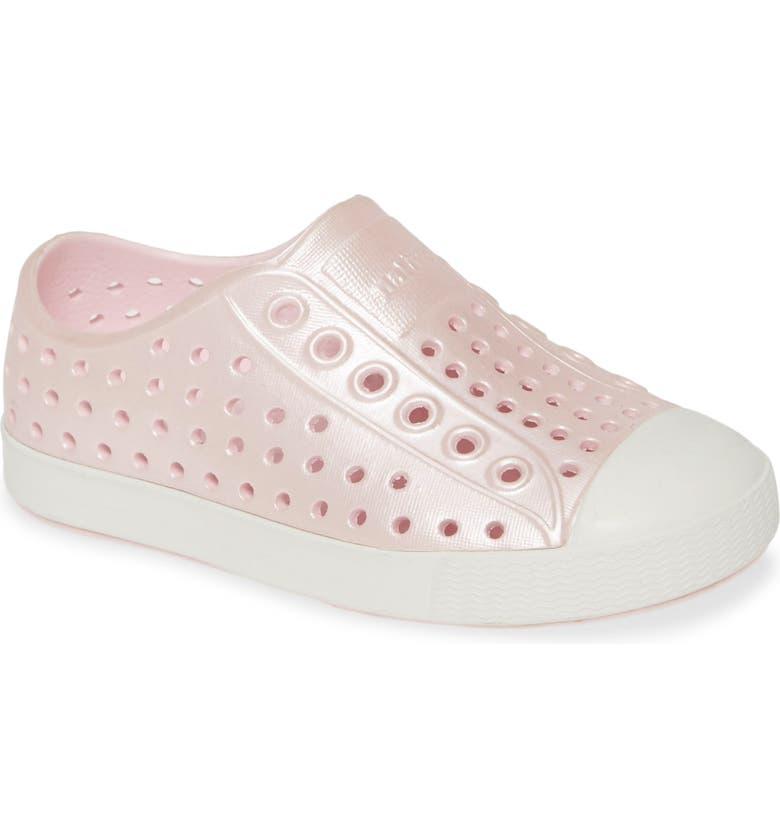 NATIVE SHOES Jefferson Iridescent Slip-On Vegan Sneaker, Main, color, PRINCESS PINK/ WHITE/ GALAXY