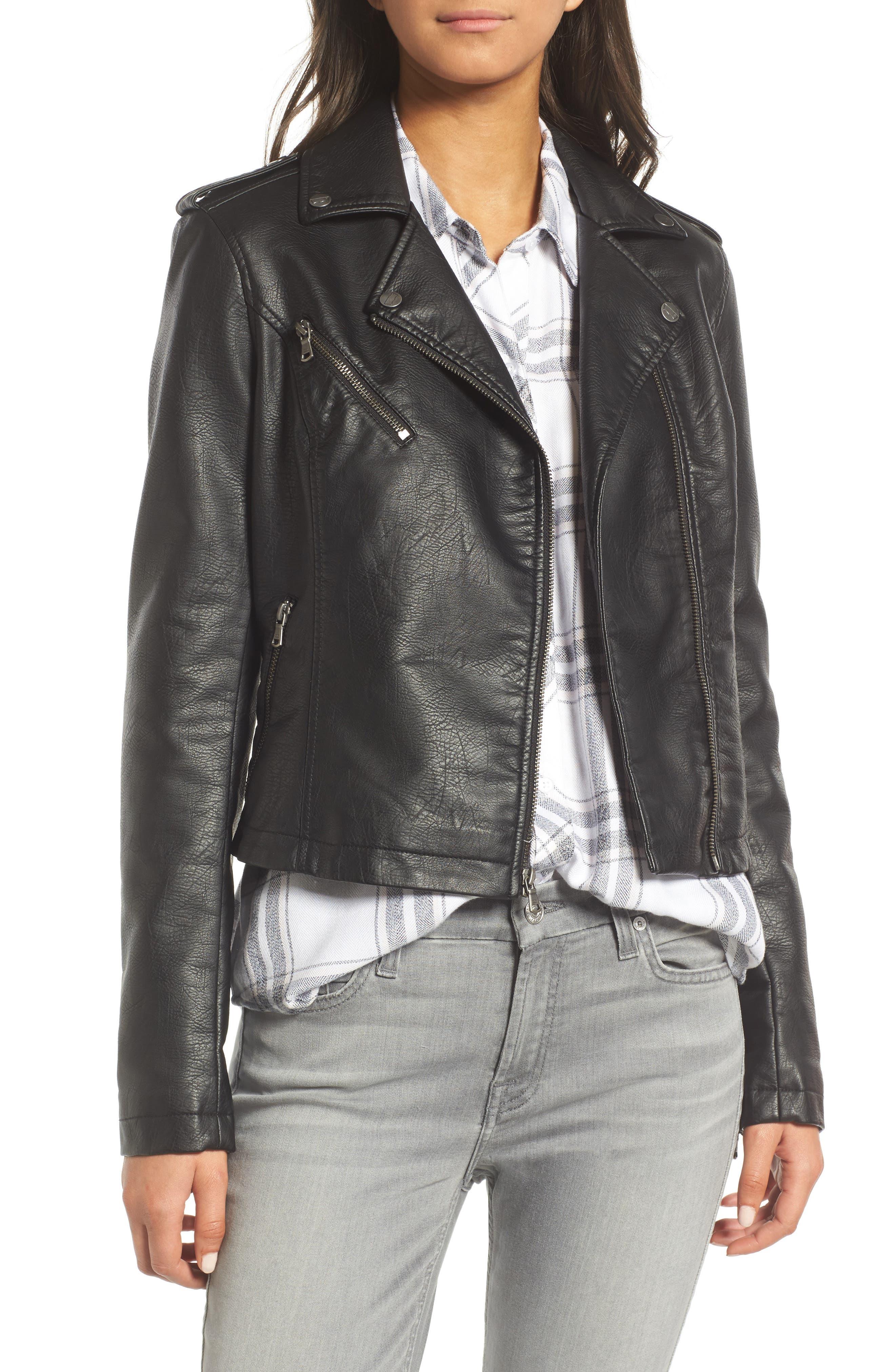 ,                             Faux Leather Moto Jacket,                             Main thumbnail 20, color,                             001