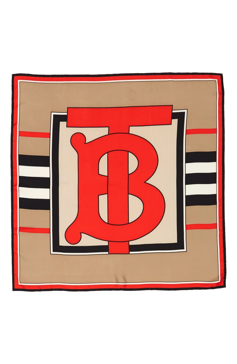 BURBERRY Monogram Heritage Stripe Silk Scarf, Main, color, ARCHIVE BEIGE