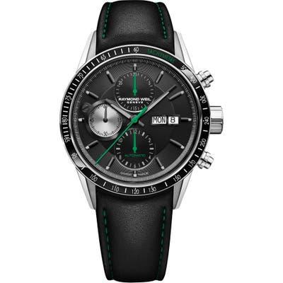 Raymond Weil Freelancer Chronograph Automatic Leather Strap Watch, 42Mm