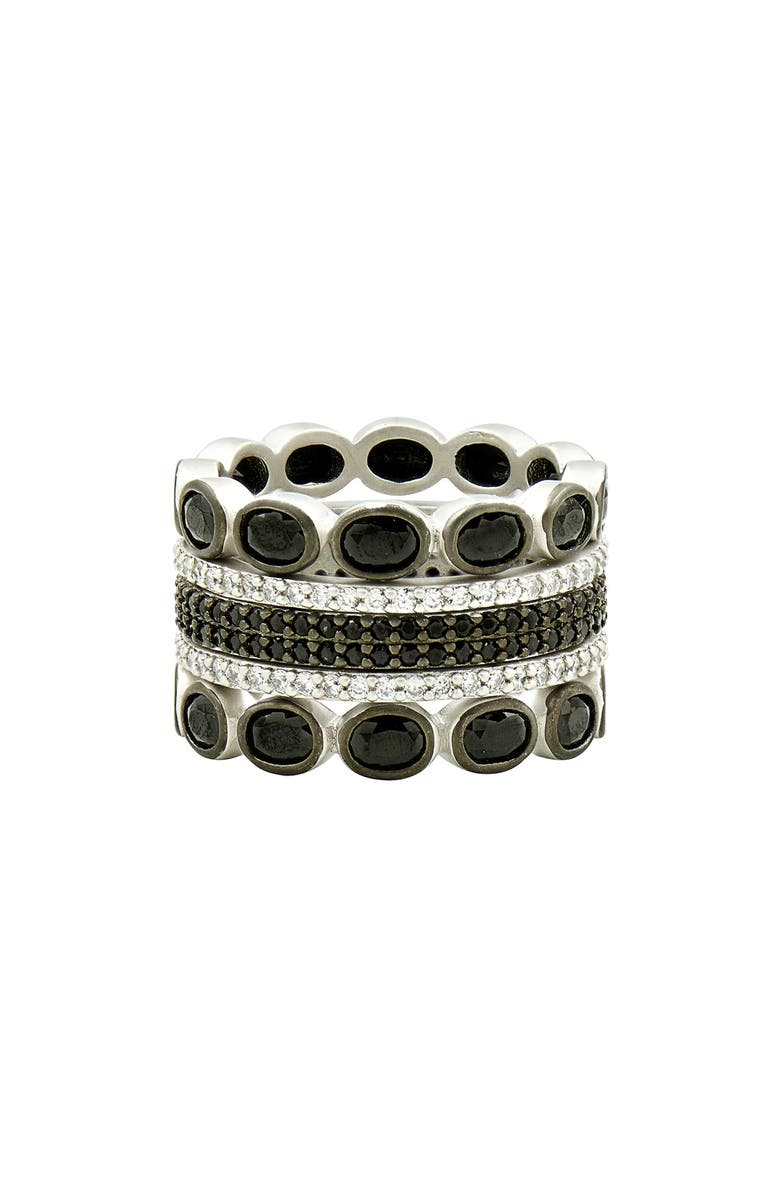 FREIDA ROTHMAN Industrial Finish 5-Set Stackable Rings, Main, color, SILVER/ BLACK