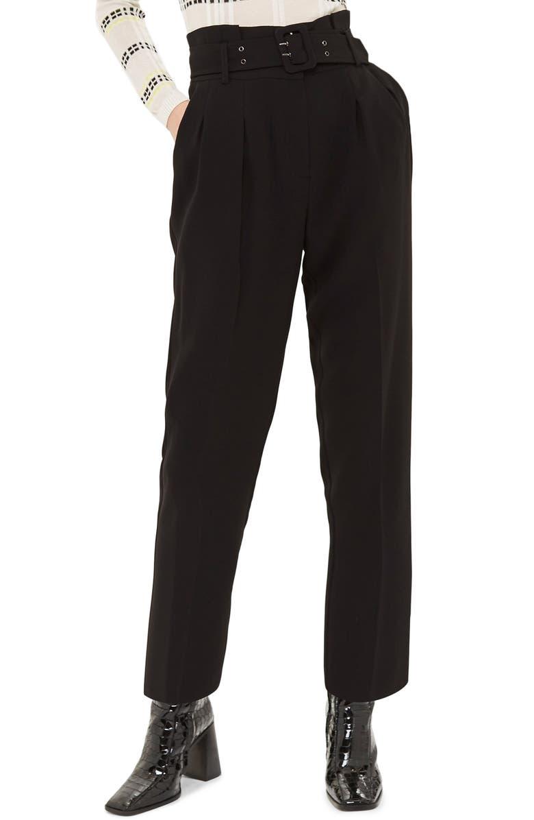 TOPSHOP Ayla Belted Eyelet Trouser, Main, color, BLACK