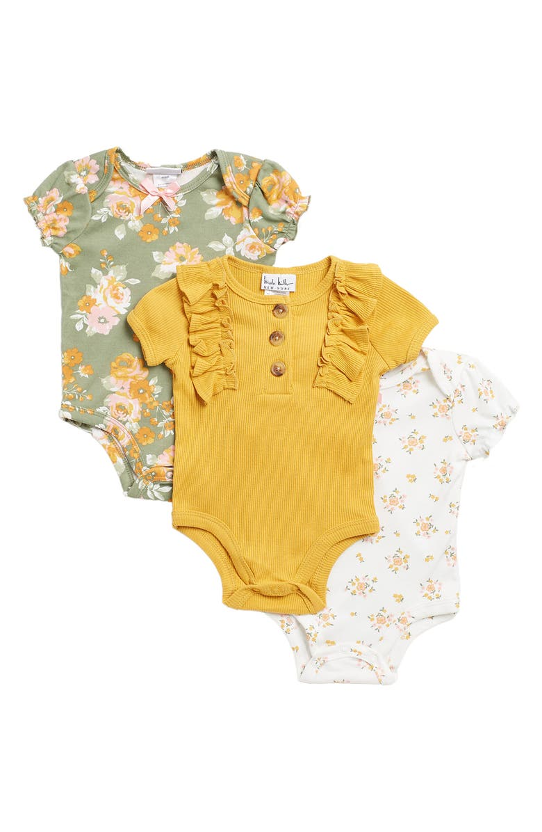NICOLE MILLER NEW YORK Pack of 3 Bodysuits, Main, color, MUSTARD