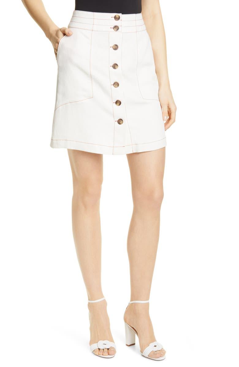 DOLAN Aster Topstitch Detail Button Up Skirt, Main, color, BONE