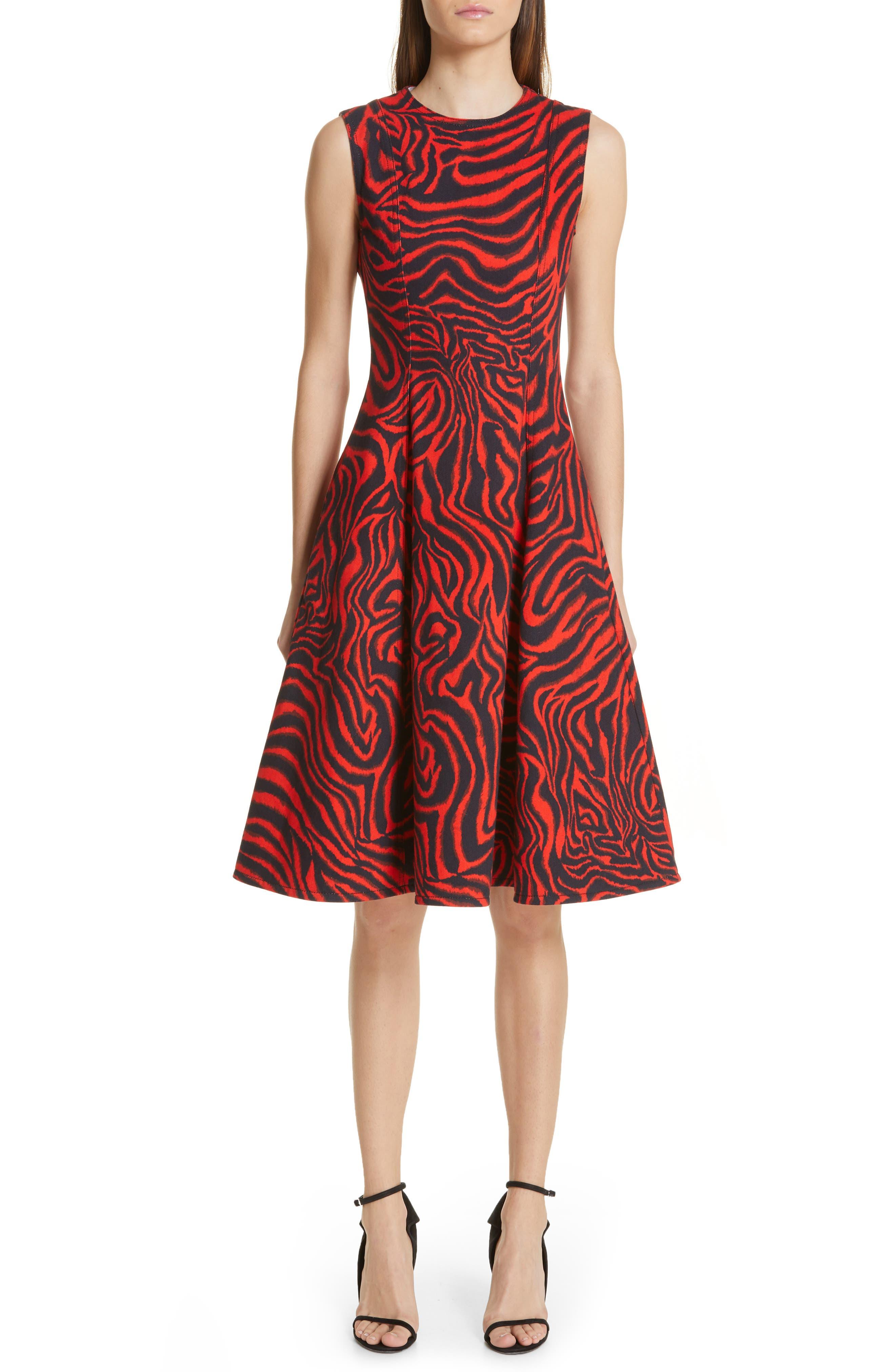 ,                             Zebra Print Denim A-Line Dress,                             Main thumbnail 1, color,                             RED ZEBRA