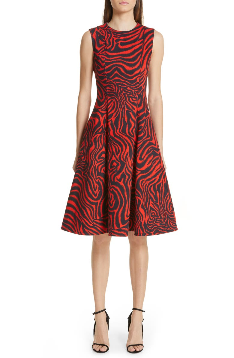 CALVIN KLEIN 205W39NYC Zebra Print Denim A-Line Dress, Main, color, 628