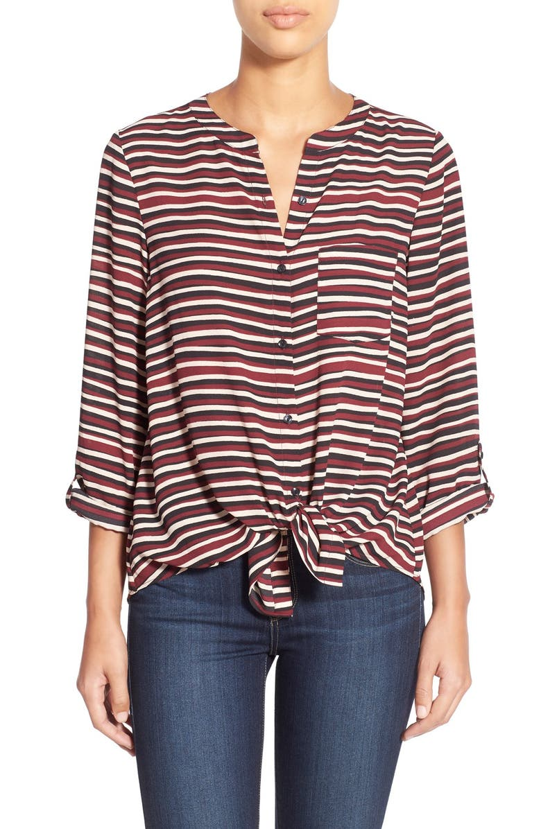 HALOGEN<SUP>®</SUP> Print Roll Sleeve Tie Front Blouse, Main, color, 001