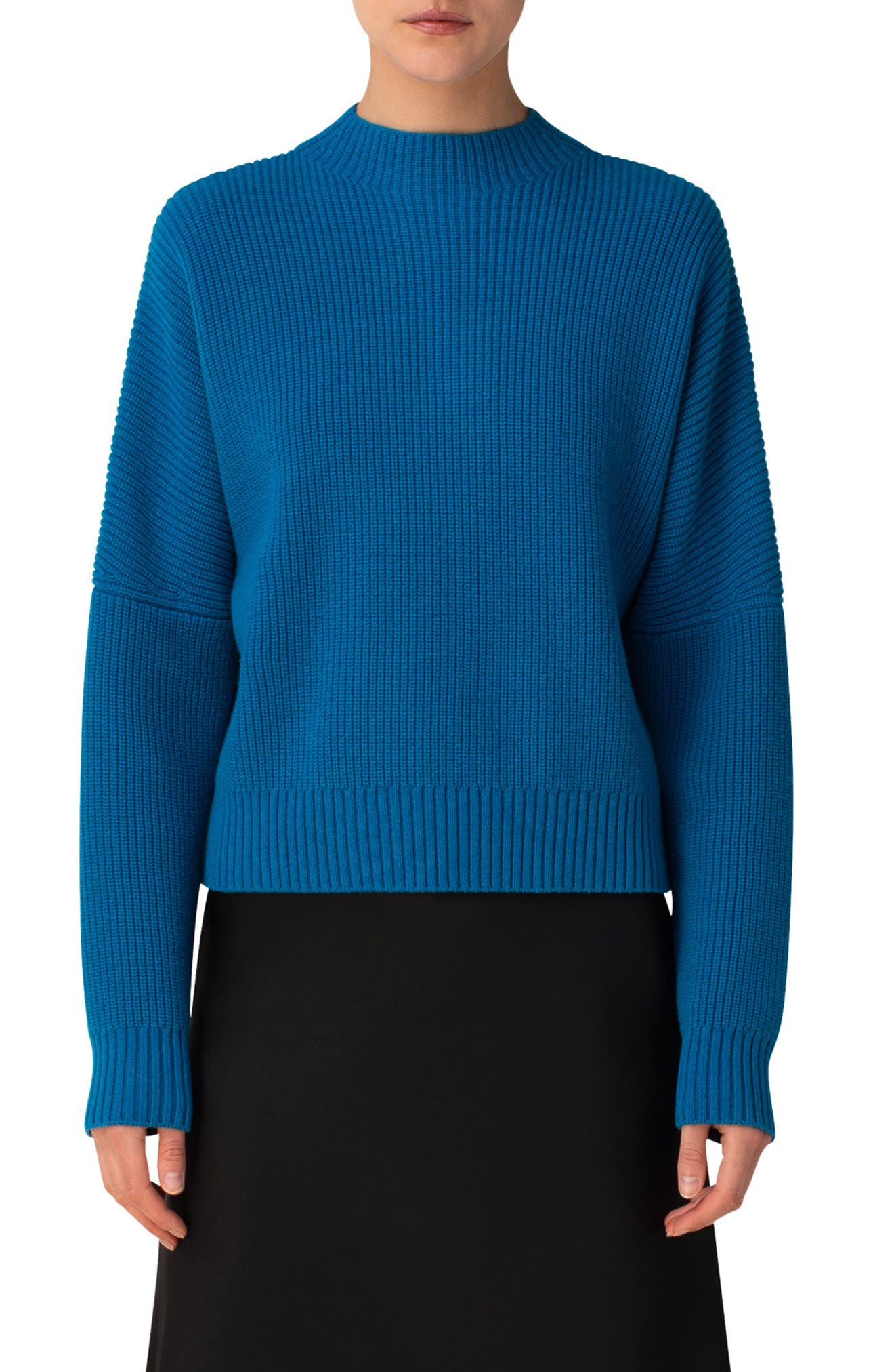 Dropped shoulders and a slightly boxy fit relax this shaker-rib sweater knit from a soft blend of wool and cashmere yarn. Style Name: Akris Punto Rib Wool & Cashmere Sweater. Style Number: 6046391. Available in stores.