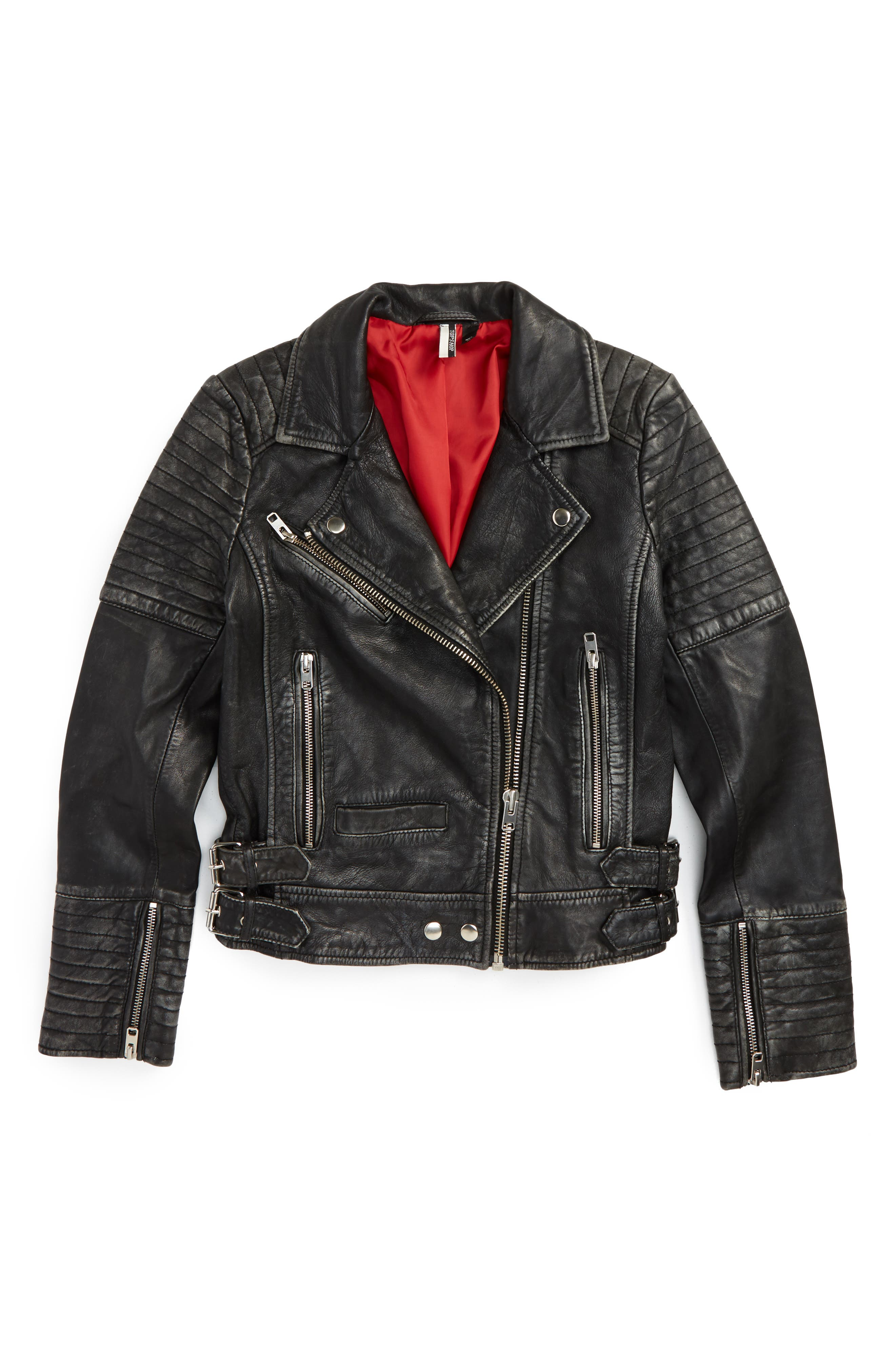 ,                             Elton Quilted Leather Jacket,                             Alternate thumbnail 6, color,                             001