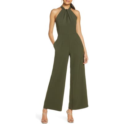 Julia Jordan Halter Neck Jumpsuit, Green