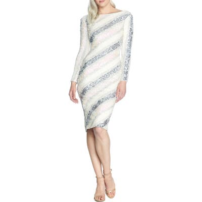 Dress The Population Emery Sequin Stripe Long Sleeve Cocktail Dress, Ivory