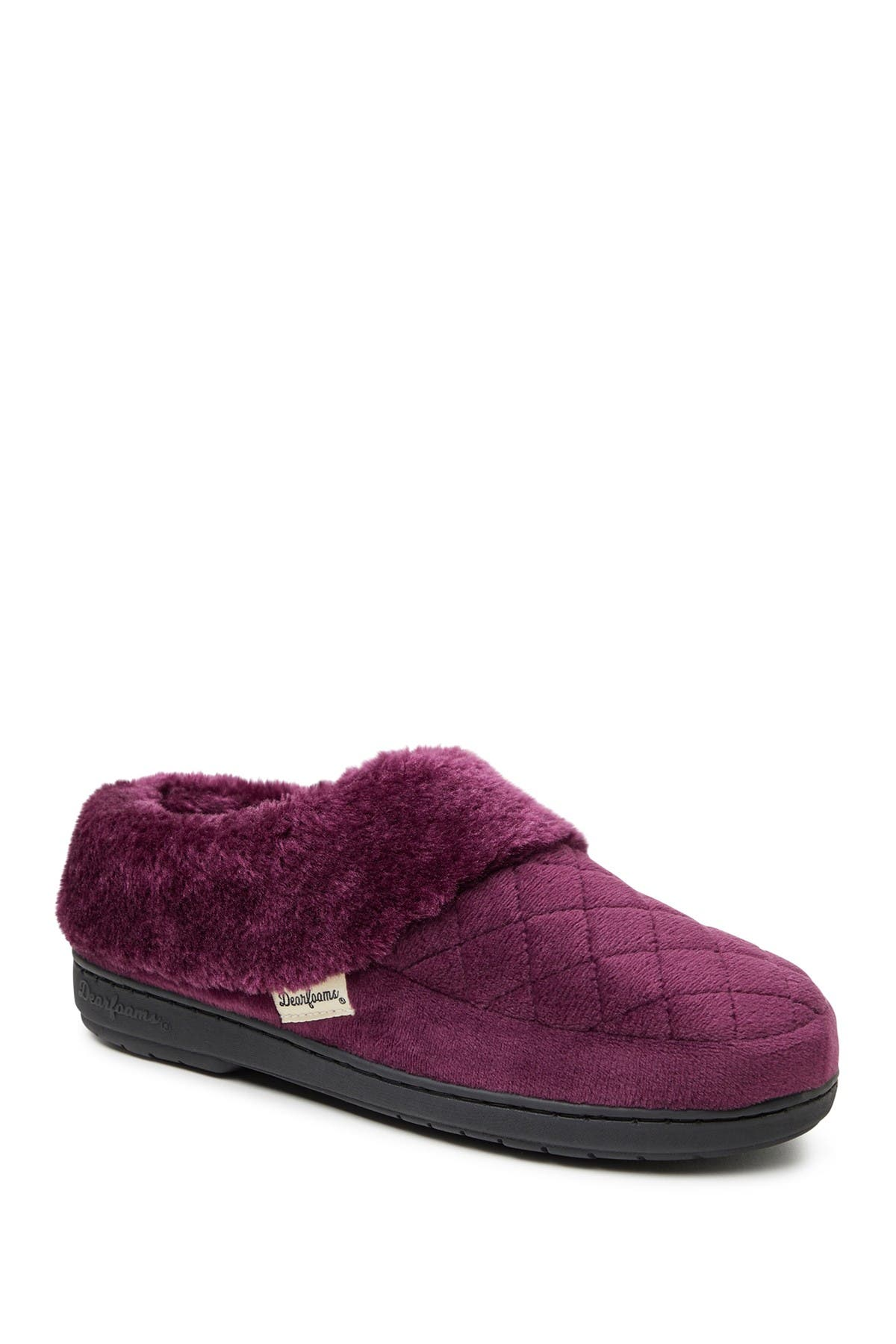 Image of Dearfoams Elaine Quilted Velour Faux Fur Trimmed Clog