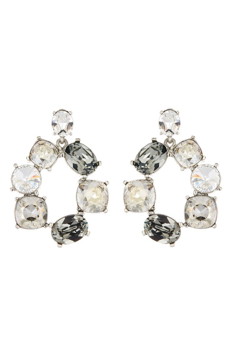 OSCAR DE LA RENTA Bold Crystal Hoop Drop Earrings, Main, color, 040