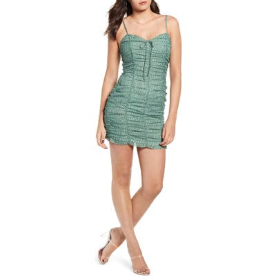 J.o.a. Ruched Scallop Hem Minidress, Green