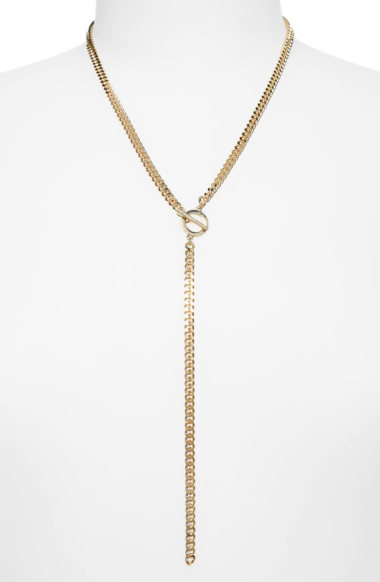 HALOGEN<SUP>®</SUP> Curb Chain Toggle Y Necklace, Main, color, 710