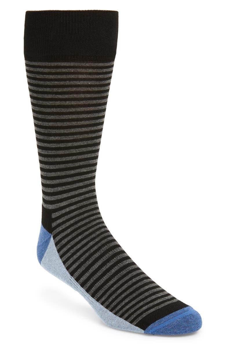 NORDSTROM MEN'S SHOP Stripe Socks, Main, color, BLACK/ GREY