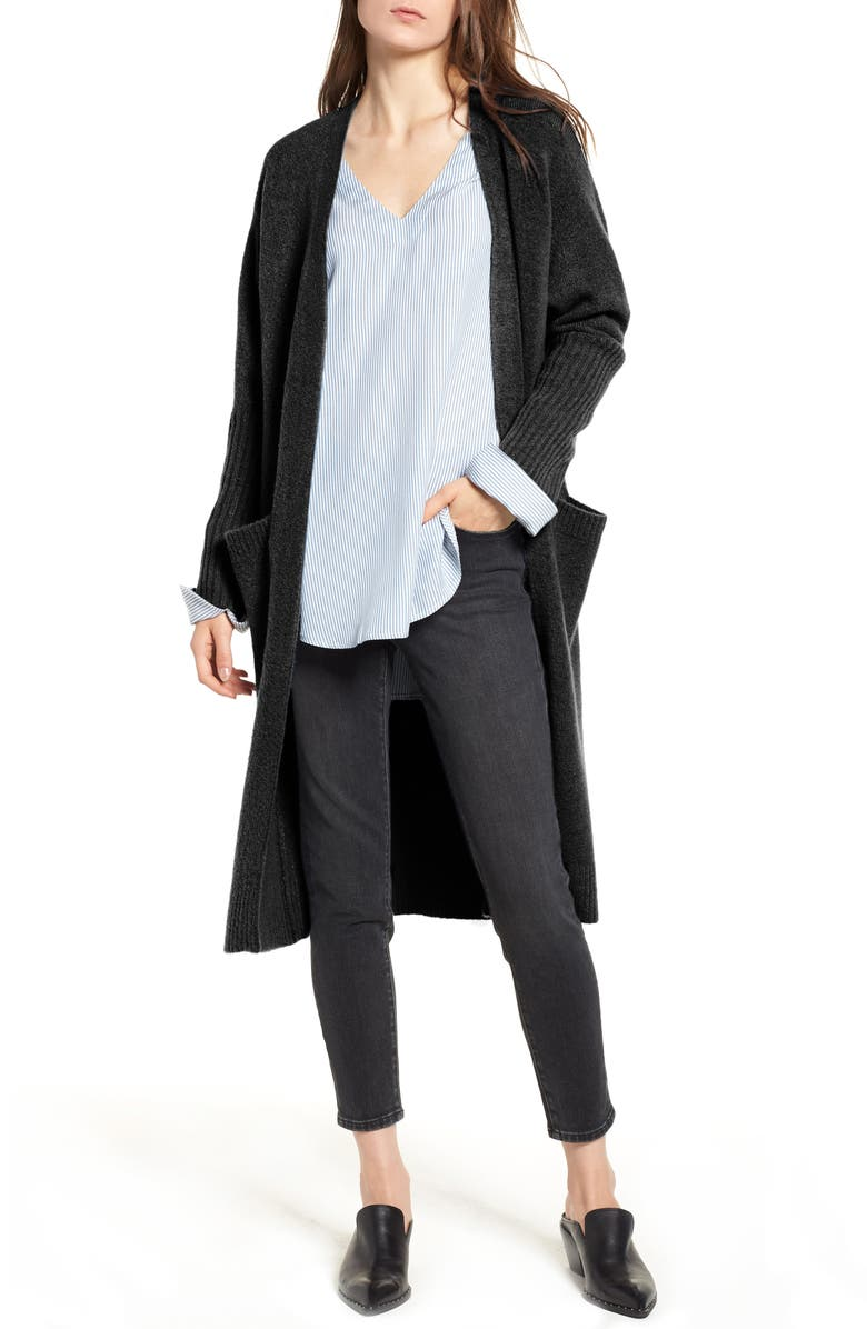 TREASURE & BOND Long Knit Duster, Main, color, 001