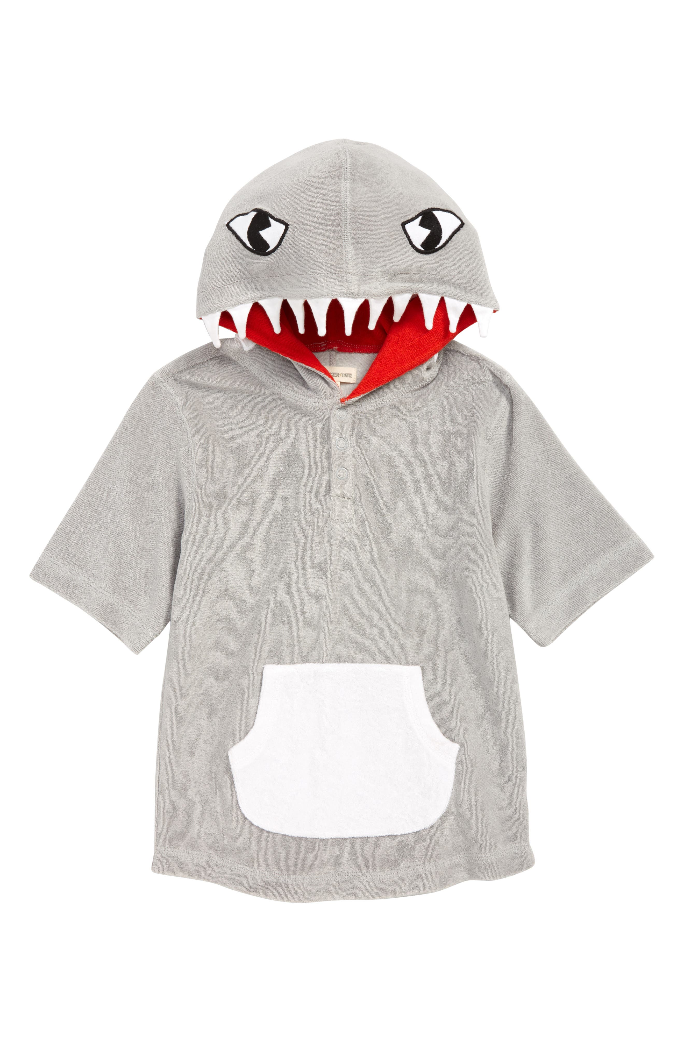 Animal Towel Cover-Up, Main, color, GREY ALLOY SHARK