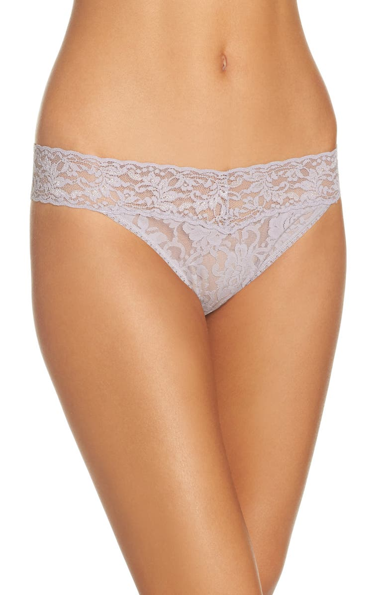 HANKY PANKY Regular Rise Lace Thong, Main, color, STEEL